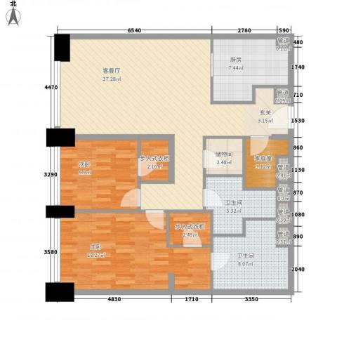 新地国际公寓御玺2室1厅2卫1厨143.00㎡户型图