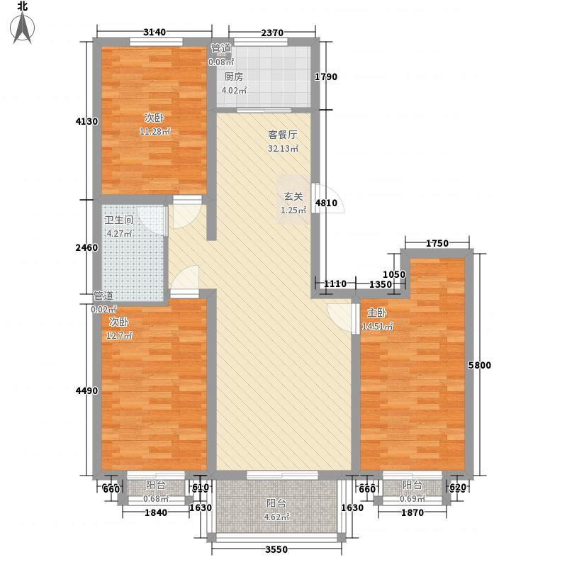 银杏水岸123.14㎡5#楼D户型3室2厅1卫
