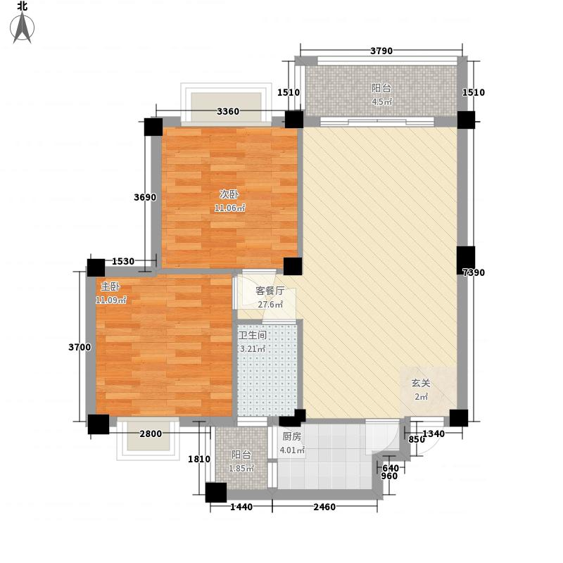 远洋・滨海国际御海组团J#1户型2室2厅1卫1厨