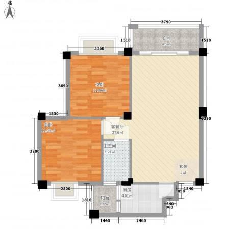 远洋・滨海国际2室1厅1卫1厨63.32㎡户型图