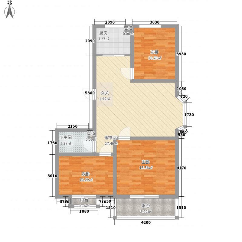 银杏水岸111.43㎡8#楼K户型3室2厅1卫