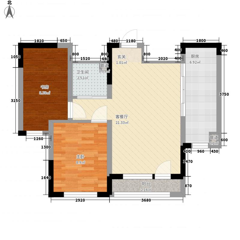 多恩虹郡6.00㎡D户型2室2厅1卫