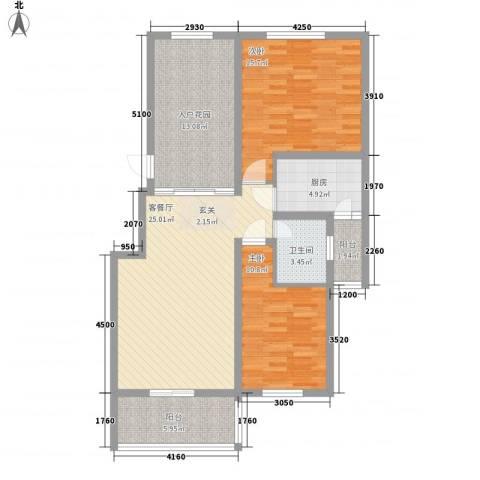 辰兴天御2室1厅1卫1厨88.00㎡户型图