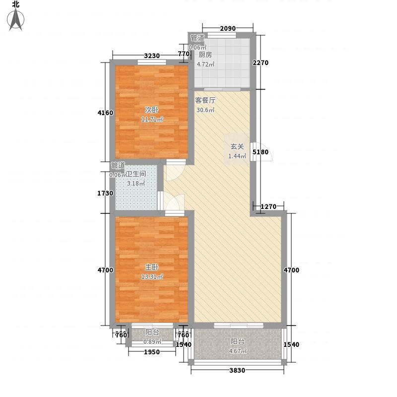 银杏水岸7、8#楼F户型2室2厅1卫