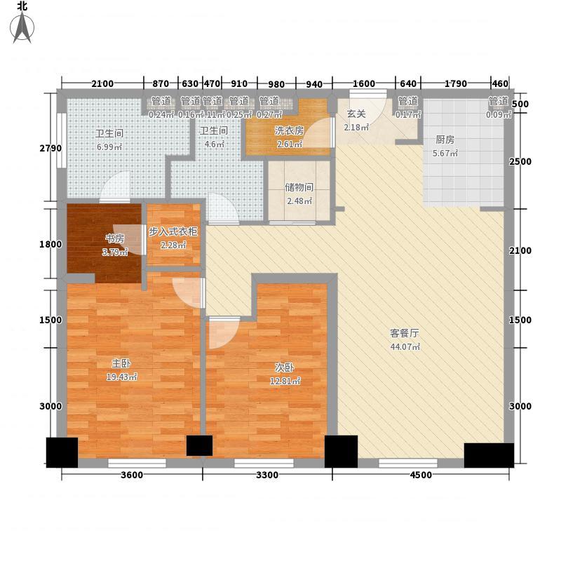 新地国际公寓御玺143.00㎡塔楼D户型2室2厅2卫1厨