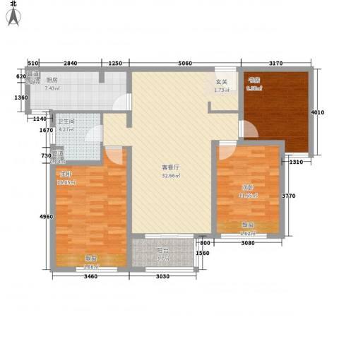 万科金色家园3室1厅1卫1厨123.00㎡户型图