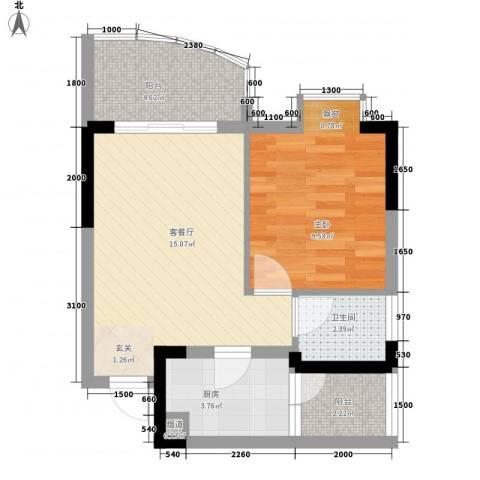 丽园雅苑1室1厅1卫1厨55.00㎡户型图