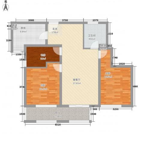 万科金色家园3室1厅1卫1厨113.00㎡户型图