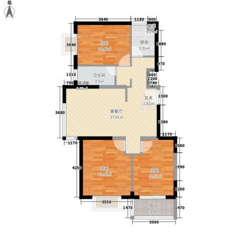 隆兴宜居3室1厅1卫1厨71.19㎡户型图