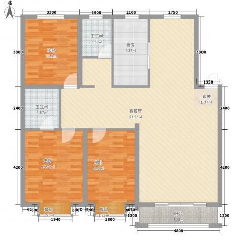 金城福邸3室1厅2卫1厨137.00㎡户型图