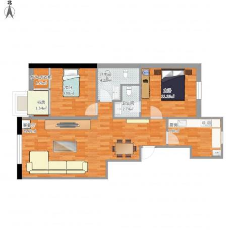 西翠路12号院3室1厅2卫1厨94.00㎡户型图