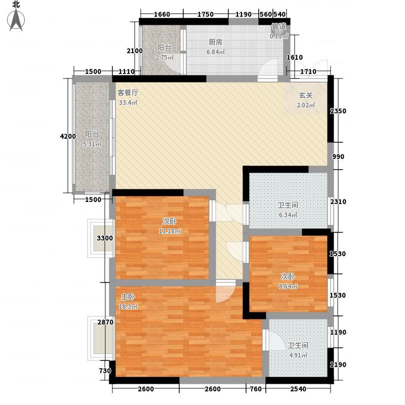 四季花城13413.72㎡13号楼A4户型3室2厅2卫