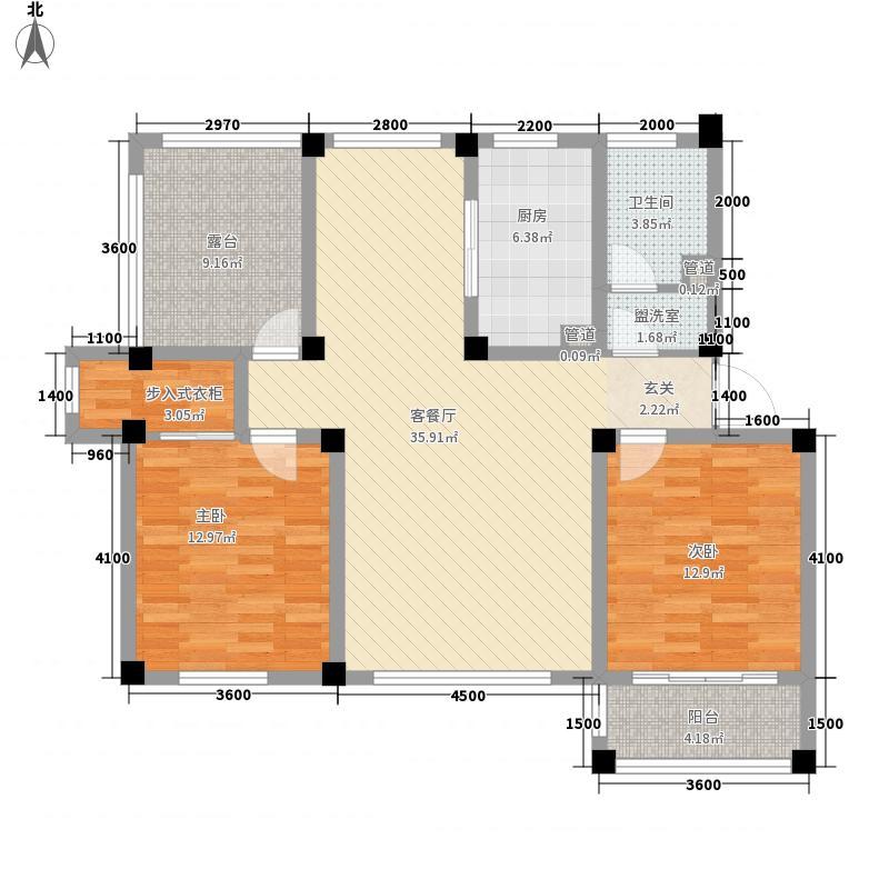 中兴茗居115.00㎡C3户型2室2厅1卫
