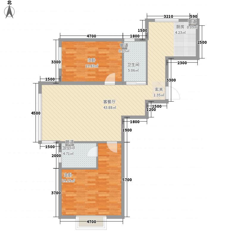 金海花园二期122.65㎡户型2室2厅1卫1厨