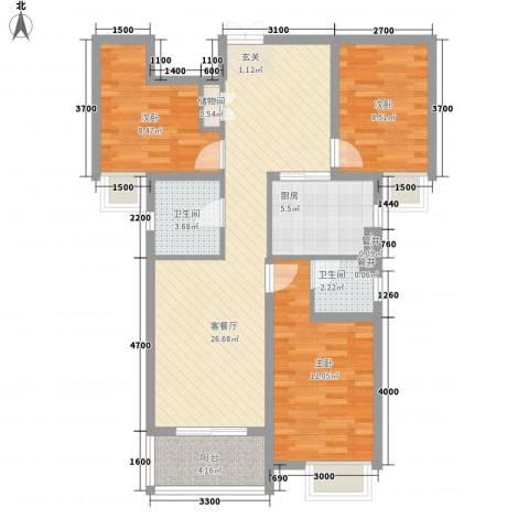 华勤紫金城3室1厅2卫1厨126.00㎡户型图