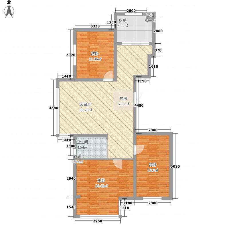 金海花园二期126.34㎡户型3室2厅1卫1厨