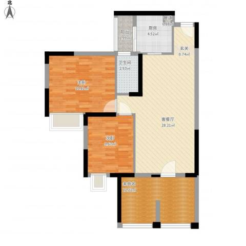世纪城幸福公馆2室1厅1卫1厨105.00㎡户型图