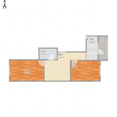 哈南之星2室1厅1卫1厨66.00㎡户型图