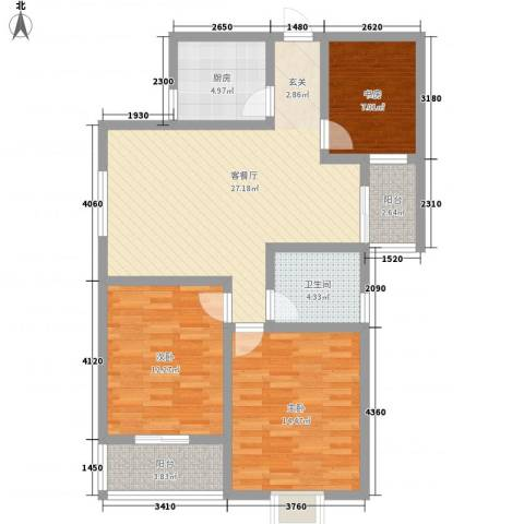 鼎盛・帕堤欧3室1厅1卫1厨112.00㎡户型图