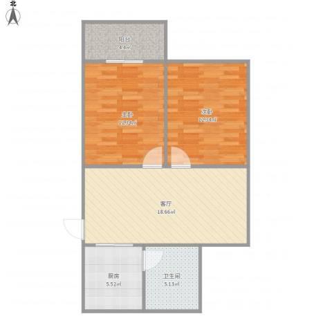 南新三村2室1厅1卫1厨79.00㎡户型图