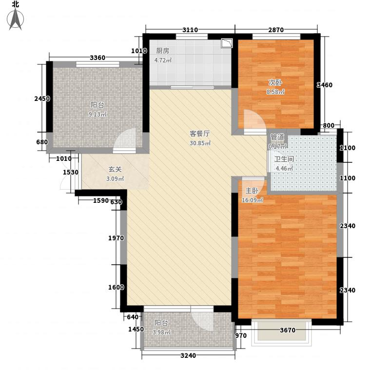 星悦华廷121.22㎡X1户型2室2厅1卫