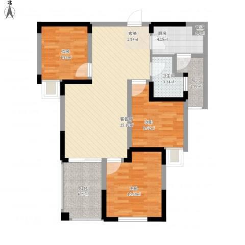 七里香榭3室1厅1卫1厨101.00㎡户型图