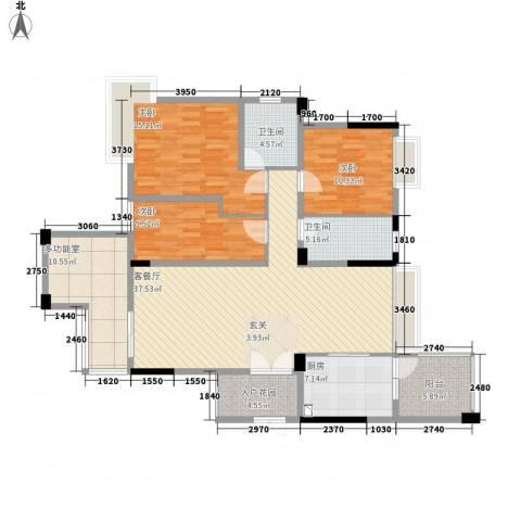 锦绣华庭3室1厅2卫1厨156.00㎡户型图