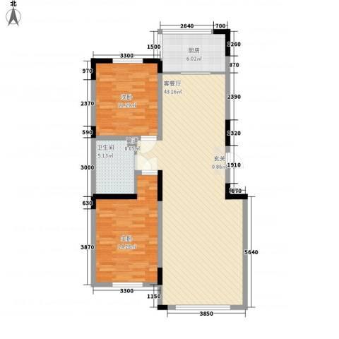 上东街区2室1厅1卫1厨112.00㎡户型图