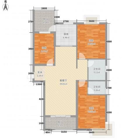 御天城腾龙郡3室1厅2卫1厨138.00㎡户型图