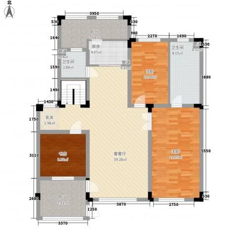 上东街区3室1厅2卫1厨137.00㎡户型图