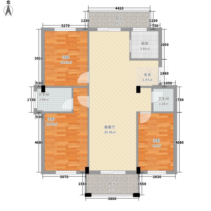 山水华庭13125.42㎡F1户型3室2厅1卫1厨