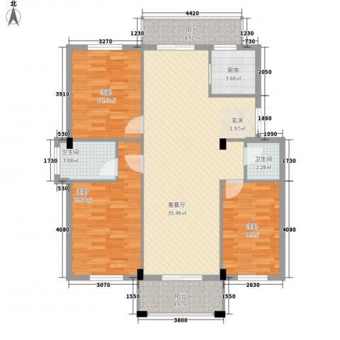 山水华庭3室1厅2卫1厨13125.00㎡户型图