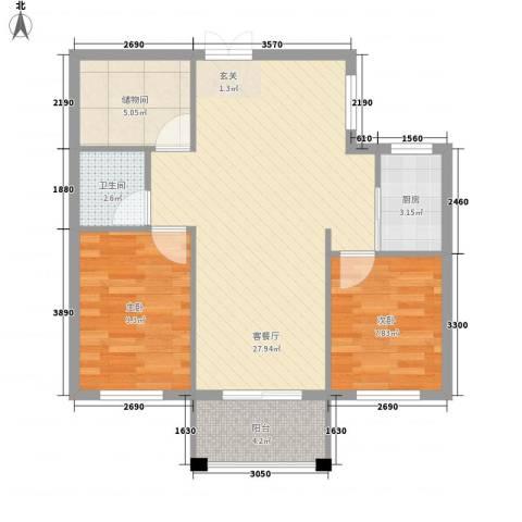 山水华庭2室1厅1卫1厨229.00㎡户型图
