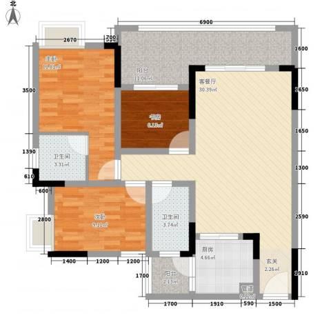 未来城3室1厅2卫1厨82.47㎡户型图