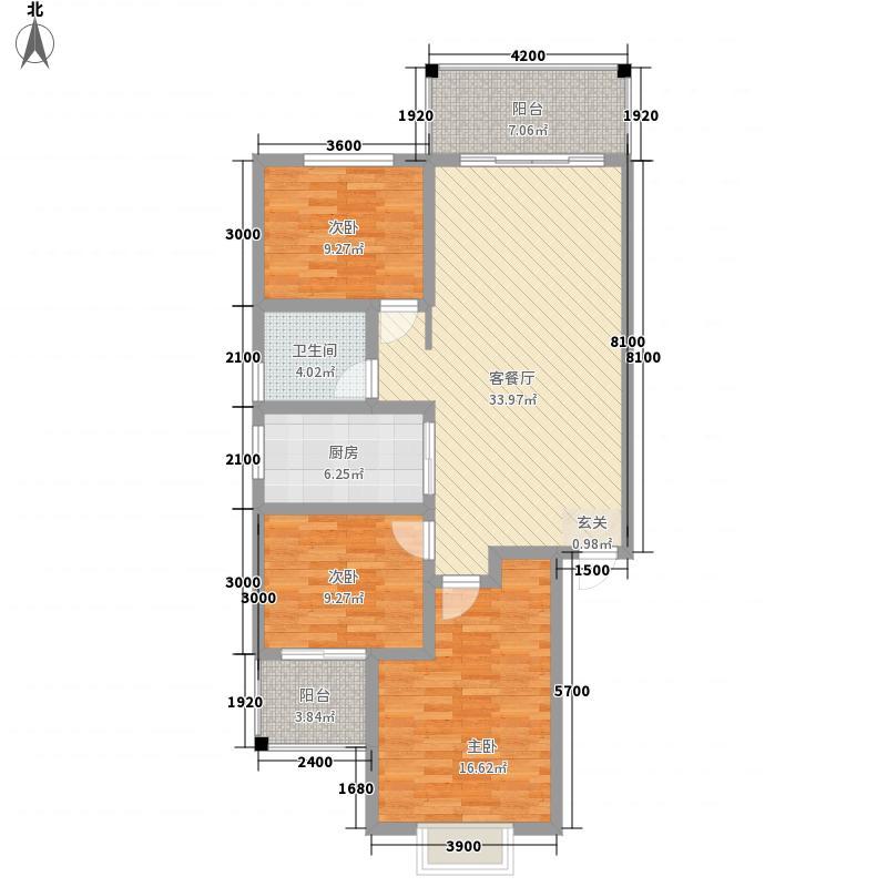 麒龙新天地18.10㎡4#楼标准层户型3室2厅1卫1厨