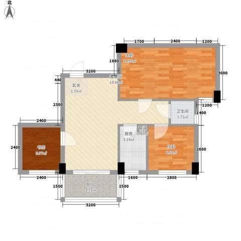 帝景名筑3室1厅1卫1厨78.00㎡户型图