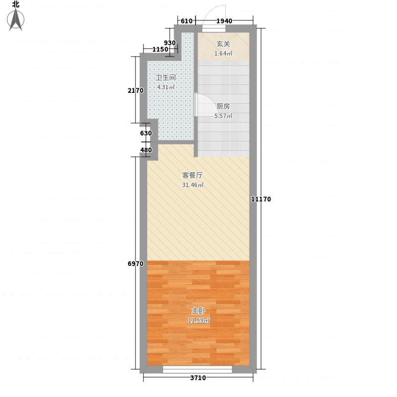巅峰国际5.41㎡C3户型1室1厅1卫