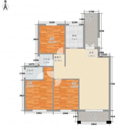 山水华庭3室1厅2卫1厨2313.00㎡户型图