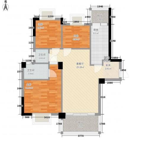 帝景名筑3室1厅2卫1厨69.84㎡户型图