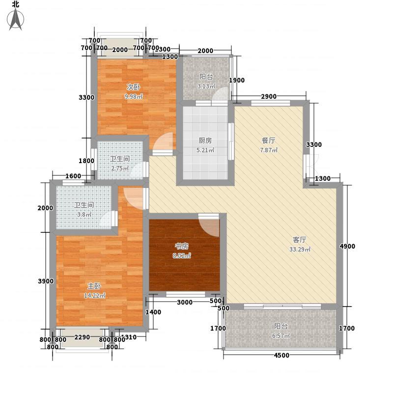 中虹江与城15.00㎡A户型3室2厅2卫1厨