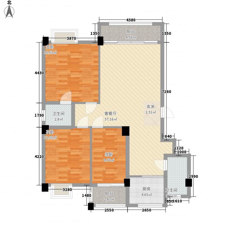 紫薇佳园二期133.40㎡-D户型3室2厅2卫