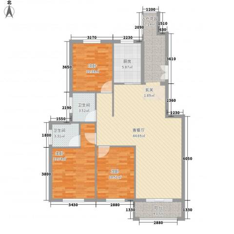 山水华庭3室1厅2卫1厨15257688064.00㎡户型图