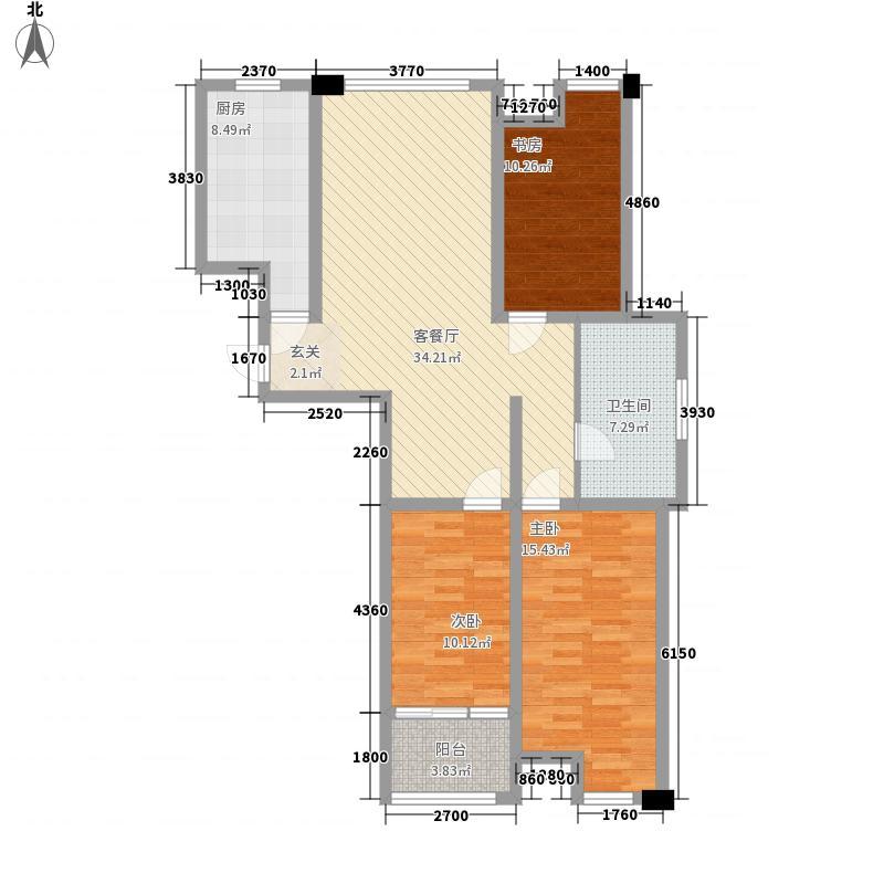 远航未来城128.00㎡F3户型3室2厅1卫1厨