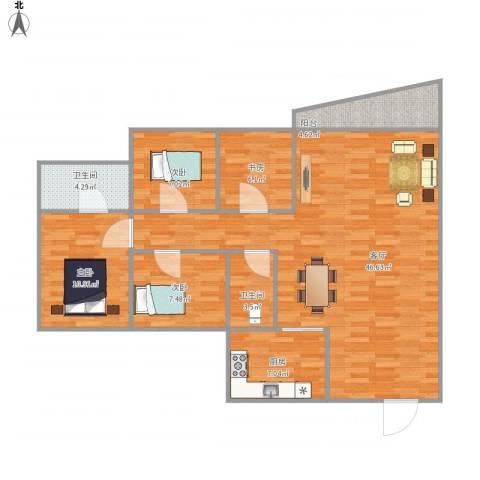 汇星豪庭4室1厅2卫1厨131.00㎡户型图