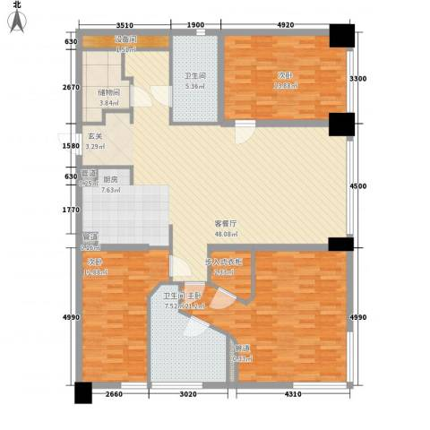 新地国际公寓御玺3室1厅2卫0厨166.00㎡户型图