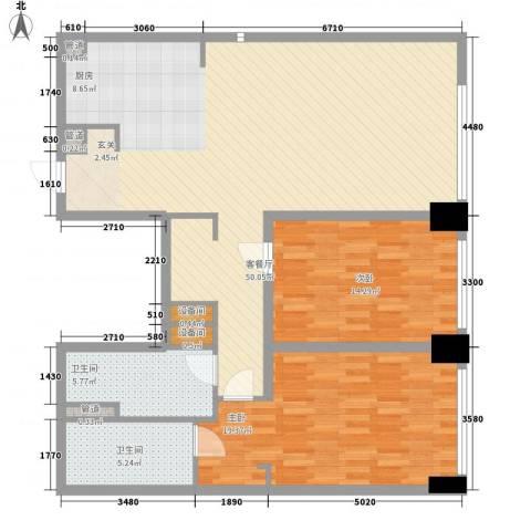 新地国际公寓御玺2室1厅2卫0厨136.00㎡户型图