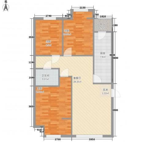 坤博幸福城3室1厅1卫1厨106.00㎡户型图
