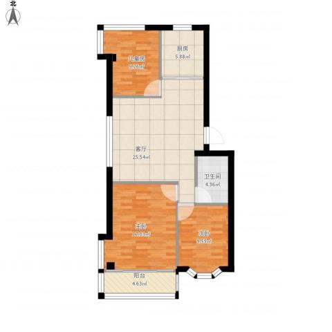 城市阳光花园西边户3室1厅1卫1厨109.00㎡户型图