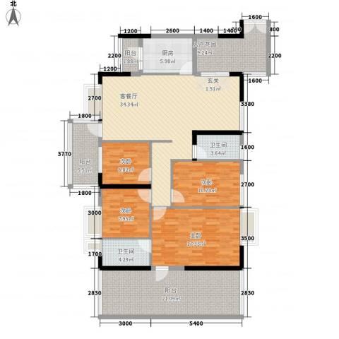 波海蓝湾三期4室1厅2卫1厨181.00㎡户型图