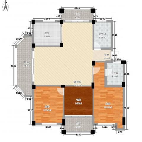 尚南小筑3室1厅2卫1厨159.00㎡户型图
